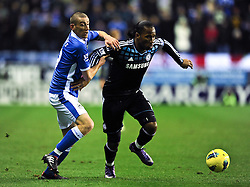 17.12.2011, Stamford Bridge Stadion, London, ENG, PL, FC Chelsea vs Wigan Athletic, 16. Spieltag, im Bild Chelsea's Didier Drogba in action against Wigan Athletic's David Jones during the football match of English premier league, 16th round, between FC Chelsea and Wigan Athletic at Stamford Bridge Stadium, London, United Kingdom on 2011/12/17. EXPA Pictures © 2011, PhotoCredit: EXPA/ Propagandaphoto/ Chris Brunskill..***** ATTENTION - OUT OF ENG, GBR, UK *****