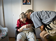 072407 BETSY MEYER; JEFF MEYER; BETSY, 8 DAYS AFTER MOVING  INTO ADULT FAMILY HOME<br /> <br /> About a week after Betsy's move, Jeff says goodbye at the end of a visit.  The adjustment was difficult for both of them in many ways; Jeff says it has been....