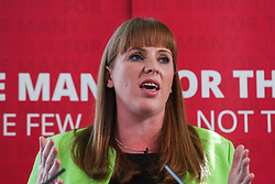 © Licensed to London News Pictures. 10/05/2017. Leeds, UK. Shadow Education Secretary Angela Rayner speaks at Leeds City College in West Yorkshire. Yesterday Labour officially launched their general election campaign and unveiled their 'battle bus' in Manchester. Photo credit : Ian Hinchliffe/LNP