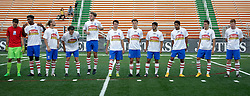 27 June 2015. New Orleans, Louisiana.<br /> National Premier Soccer League. NPSL. <br /> Jesters 1- Georgia Revolution 5.<br /> The Georgia Revolution prepare to take on the Georgia Revolution at home in the Pan American Stadium. <br /> Photo©; Charlie Varley/varleypix.com