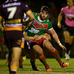 BRISBANE, AUSTRALIA - FEBRUARY 18: Brendon Gibb of Wynnum Manly in action during the QLD Rugby League Intrust Super Cup Pre-Season match between Wynnum Manly and Brisbane Broncos at Kougari Oval on February 18, 2017 in Brisbane, Australia. (Photo by Patrick Kearney/Wynnum Manly Seagulls)