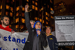 November 9, 2016 - New York, New York, United States - Activist Linda Sarsour - An estimate of ten thousand demonstrators took the streets of Manhattan on Wednesday night and converged outside Trump Tower in Midtown to protest the election of Donald J. Trump as president. (Credit Image: © Erik Mcgregor/Pacific Press via ZUMA Wire)