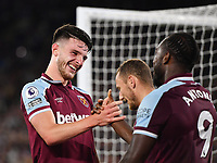 Football - 2021 / 2022 Premier League - West Ham United vs Leicester City - London Stadium - Monday 23rd August 2021<br /> <br /> West Ham United's Declan Rice with Michail Antonio after the latter scores their 4th goal.<br /> <br /> COLORSPORT/Ashley Western