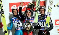 Hopp Ski Jumping<br /> World Cup - Verdenscup<br /> Lillehammer Lysgårdsbakken 02.12.06<br /> Foto: Kasper Wikestad<br /> <br /> The winner Simon Amman in the middle together with Andreas Kuettel - Sveits Suisse Switzerland - and Thomas Morgenstern - Austria Österreich Østerrike