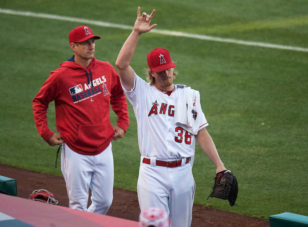 The Angels' Jered Weaver waves to his family before taking on the Oakland Athletics at Angel Stadium on Friday.<br /> <br /> ///ADDITIONAL INFO:   <br /> <br /> angels.0625.kjs  ---  Photo by KEVIN SULLIVAN / Orange County Register  --  6/24/16<br /> <br /> The Los Angeles Angels take on the Oakland Athletics Friday at Angel Stadium.<br /> <br /> <br />  6/24/16
