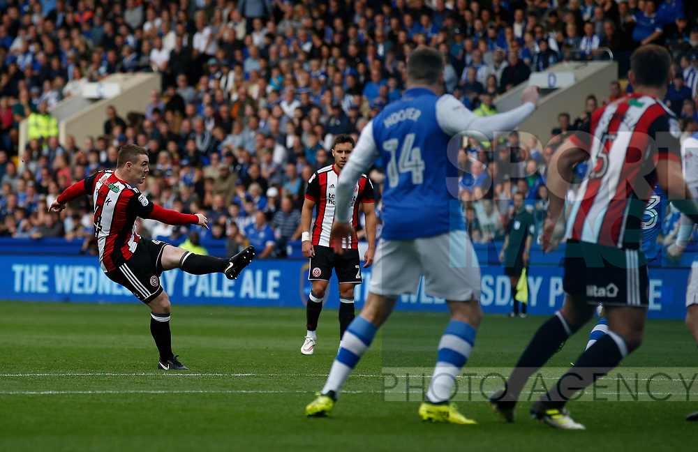 John Fleck of Sheffield Utd scores the first goal during the Championship match at the Hillsborough Stadium, Sheffield. Picture date 24th September 2017. Picture credit should read: Simon Bellis/Sportimage
