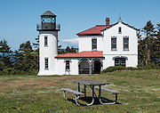 Admiralty Head Lighthouse was built 1890 to help guide ships into Puget Sound, and became obsolete in 1927 when its lantern was removed. Fort Casey State Park is part of Ebey's Landing National Historical Reserve, on Whidbey Island, Washington, USA.
