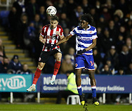 George Baldock of Sheffield Utd challenges Ovie Ejaria of Reading during the FA Cup match at the Madejski Stadium, Reading. Picture date: 3rd March 2020. Picture credit should read: Simon Bellis/Sportimage