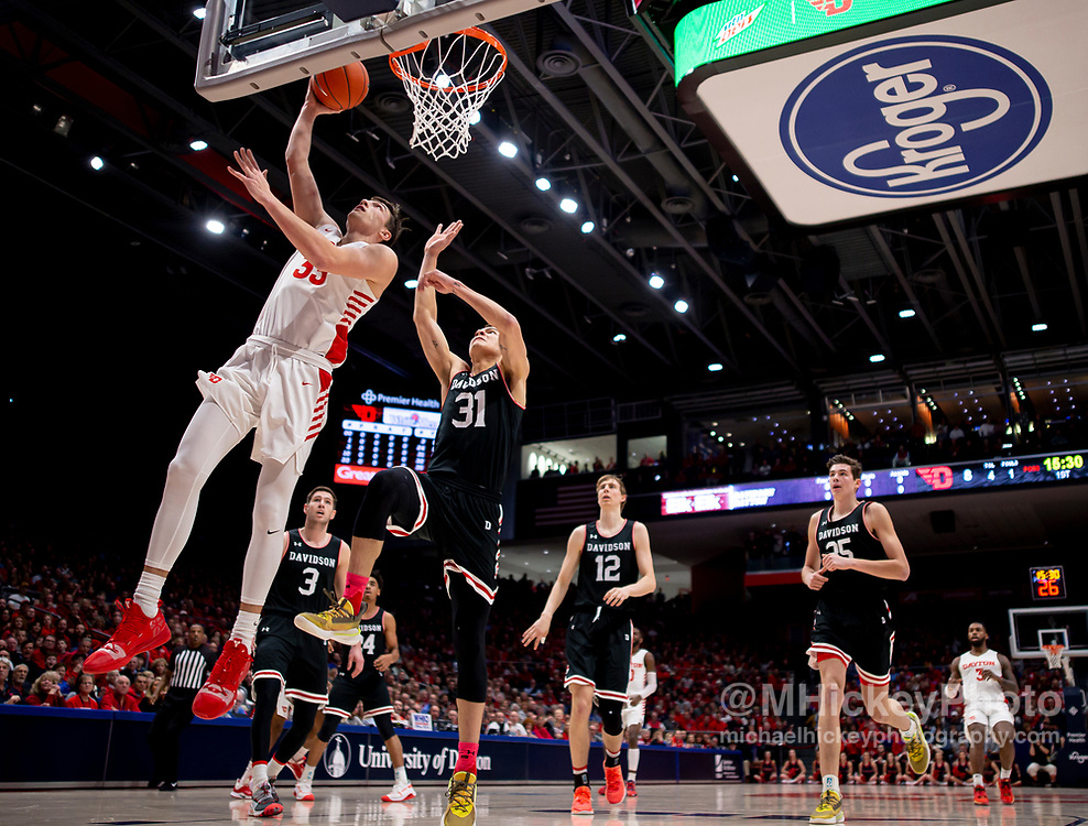 DAYTON, OH - FEBRUARY 28: Ryan Mikesell #33 of the Dayton Flyers makes a layup during the game against the Davidson Wildcats at UD Arena on February 28, 2020 in Dayton, Ohio. (Photo by Michael Hickey/Getty Images) *** Local caption *** Ryan Mikesell