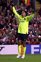 Photo: Paul Thomas.<br /> Liverpool v Barcelona. UEFA Champions League. Last 16, 2nd Leg. 06/03/2007.<br /> <br /> Ronaldinho of Barcelona shows his frustration in hitting the post.