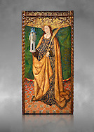 Gothic Aaltarpiece of Saint Barbara, 3rd quarter of the 15th century, tempera and gold leaf on for wood.  National Museum of Catalan Art, Barcelona, Spain, inv no: MNAC   114746-7. Against a grey art background. .<br /> <br /> If you prefer you can also buy from our ALAMY PHOTO LIBRARY  Collection visit : https://www.alamy.com/portfolio/paul-williams-funkystock/gothic-art-antiquities.html  Type -     MANAC    - into the LOWER SEARCH WITHIN GALLERY box. Refine search by adding background colour, place, museum etc<br /> <br /> Visit our MEDIEVAL GOTHIC ART PHOTO COLLECTIONS for more   photos  to download or buy as prints https://funkystock.photoshelter.com/gallery-collection/Medieval-Gothic-Art-Antiquities-Historic-Sites-Pictures-Images-of/C0000gZ8POl_DCqE