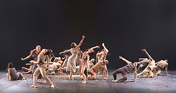 © Licensed to London News Pictures. 10/11/2015. London, UK. Sacre performed to Stravinsky's The Rite of Spring. Dress rehearsal of Berlin-based dance troupe Sasha Waltz & Guests performing the UK premiere of Sacre, a triple bill, at Sadler's Wells Theatre from 11 to 13 November 2015. Photo credit: Bettina Strenske/LNP