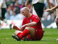 Fotball<br /> VM-kvalifisering<br /> Wales v Østerrike<br /> 26. mars 2005<br /> Foto: Digitalsport<br /> NORWAY ONLY<br /> A frustrated John Hartson