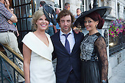 Fashionista Marietta Doran, Soccer player Stephan Hunt and Mandy Maher Catwalk Models, at the Most Stylish Lady event on ladies day of The Galway Races. Photo:Andrew Downes