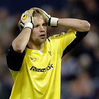 Photo: Glyn Thomas.<br />West Bromwich Albion v Bolton Wanderers. The Barclays Premiership. 17/04/2006.<br /> Bolton keeper Jussi Jaaskelainen looks dejected.