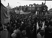 "H-Block Hunger-Strike Protest.   (M54)..1980..06.12.1980..12.06.1980..6th December 1980..In support of the prisioners on hunger strike in Northern Ireland a protest march was organised in Dublin. The march was to highlight the treatment of prisioners who wer on hunger strike and on the ""blanket"" protest. Part of the prisioner demand was that they be treated as political prisioners and not as criminals or terrorists..A general view of the assembled protestors on Merrion Road."