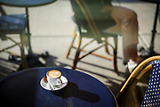 SHOT 10/21/19 7:23:01 AM - A latte sits on a table on the patio out front of the Remedy House in Buffalo, N.Y. Buffalo, NY is a city on the shores of Lake Erie in upstate New York. Its fine neoclassical, beaux arts and art deco architecture speaks to its history as an industrial capital in the early 20th century. Its landmarks include the 398-ft art deco City Hall, the Frank Lloyd Wright–designed Darwin D. Martin House and the Albright-Knox Art Gallery, a Greek Revival museum with works by Picasso and Warhol. (Photo by Marc Piscotty / © 2019)