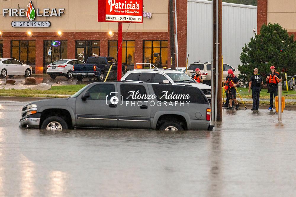Flooding in Oklahoma City at I-40 and Reno Ave. on Thursday, June 6, 2019. Photo copyright © 2019 Alonzo J. Adams.
