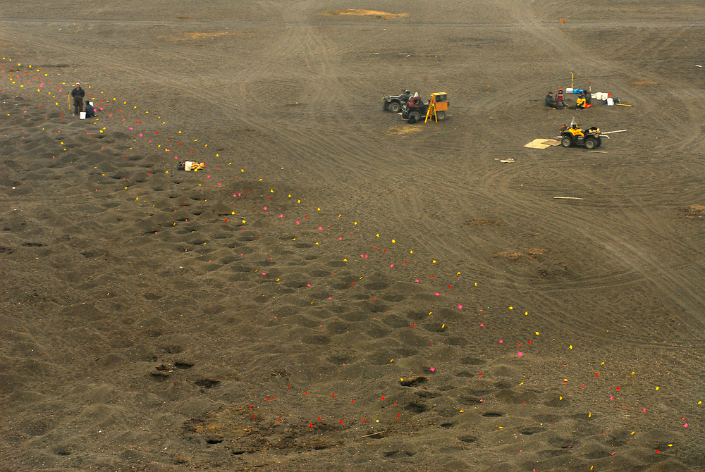 Alaska, Barrow. Aerial view of the Point Barrow, Nuvuk. Archaeological excavation from the Thule period. Excavation of a 1,200 year-old cementery. July 2007