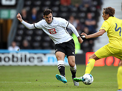 Derby County's George Thorne passes the ball - Mandatory by-line: Robbie Stephenson/JMP - 07966386802 - 29/07/2015 - SPORT - FOOTBALL - Derby,England - iPro Stadium - Derby County v Villarreal CF - Pre-Season Friendly