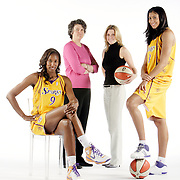 LOS ANGELES, CA, May 1, 2008:  Los Angeles Sparks stars Lisa Leslie, seated and Candace Parker flank team owners Carla Christofferson, second from right,  and Kathy Goodman.