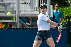 March 18, 2019 - Miami Gardens, FL, U.S. - MIAMI GARDENS, FL - MARCH 18: Eugenie Bouchard (CAN) in action during the Miami Open on March 18, 2019 at Hard Rock Stadium in Miami Gardens, FL. (Photo by Aaron Gilbert/Icon Sportswire) (Credit Image: © Aaron Gilbert/Icon SMI via ZUMA Press)