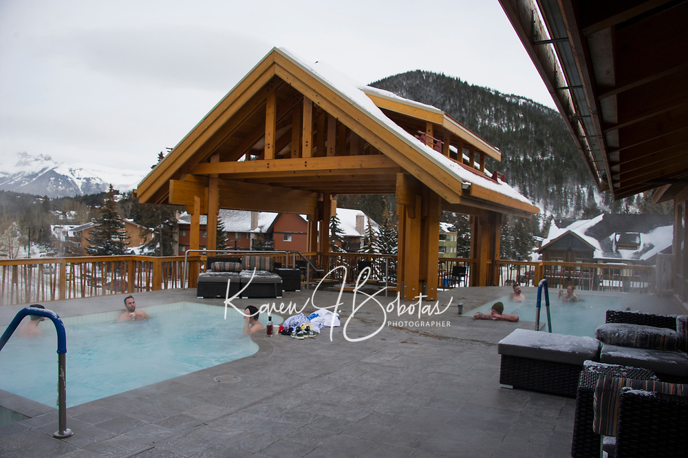 Banff ski trip. Moose Hotel and Suites - hot tub apres.    ©2019 Karen Bobotas Photographer