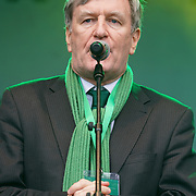 Irish Ambassador Dan Mulhall addresses the crowds at the London's St Patrick's Parade  on 19th March 2017. by See Li