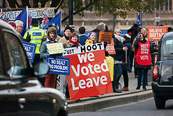London, UK. 9th January, 2019. Activists from pro-Brexit group Leave Means Leave protest outside Parliament on the first day of the debate in the House of Commons on Prime Minister Theresa May's proposed Brexit withdrawal agreement.