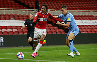 Middlesbrough's Djed Spence shields the ball from Coventry City's Dominic Hyam<br /> <br /> Photographer Alex Dodd/CameraSport<br /> <br /> The EFL Sky Bet Championship - Middlesbrough v Coventry City - Tuesday 27th October 2020 - Riverside Stadium - Middlesbrough<br /> <br /> World Copyright © 2020 CameraSport. All rights reserved. 43 Linden Ave. Countesthorpe. Leicester. England. LE8 5PG - Tel: +44 (0) 116 277 4147 - admin@camerasport.com - www.camerasport.com