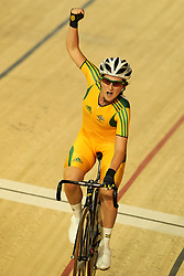 Megan Dunn of Australia celebrates gold during the women's scratch race final held at the velodrome at the Indira Gandhi Sports Complex in New Delhi, India on the 7 October 2010..Photo by:  Ron Gaunt/SPORTZPICS/PHOTOSPORT