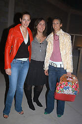 Left to right,  the HON.CAMILLA ASTOR, FIAMMA MONTAGU and GEORGIE LEATHAM at an exhibition of work by Rolf Sachs - a unique world-renowned contemporary furniture designer, held in association with the Louisa Guinness Gallery and held at 250 Brompron Road, London on 6th October 2004.<br />