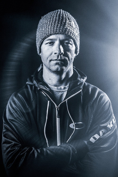 Jon Devore poses for a portrait while filming for the Unrideables in the Tordrillo Mountains near Anchorage, Alaska on April 22th, 2014.
