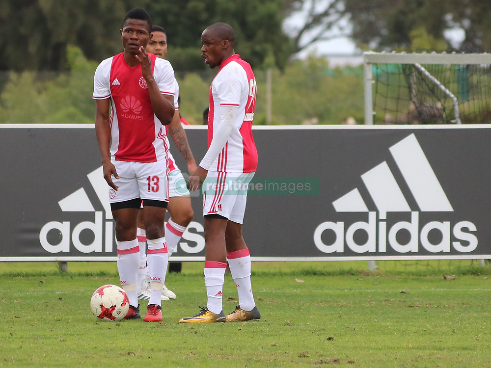 Ajax Cape Town midfielders Rodrick Kabwe and Bantu Mzwakali in a friendly game v NFD club Cape Town All Stars at Ikamva on August 10, 2017 in Cape Town, South Africa.