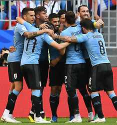 SAMARA, June 25, 2018  Luis Suarez (4th L) of Uruguay celebrates scoring with teammates during the 2018 FIFA World Cup Group A match between Uruguay and Russia in Samara, Russia, June 25, 2018. (Credit Image: © Du Yu/Xinhua via ZUMA Wire)