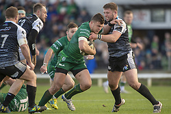 March 2, 2019 - Galway, Ireland - Tom Farrell of Connacht tackled by Scott Otten of Ospreys during the Guinness PRO 14 match  between Connacht Rugby and Ospreys at the Sportsground in Galway, Ireland on March 2, 2019  (Credit Image: © Andrew Surma/NurPhoto via ZUMA Press)