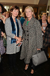 Left to right, MIRANDA McWHIRTER and JULIA SAMUEL godmother of Prince George at a ladies lunch in aid of the charity Maggie's held at Le Cafe Anglais, 8 Porchester Gardens, London on 29th April 2014.