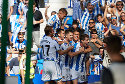 September 15, 2018 - Aritz (defender; Real Sociedad) during the Spanish football of La Liga Santander, match between Real Sociedad and FC Barcelona at the Anoeta stadium, in San Sebastian, Spain, on Saturday, September 15, 2018. (Credit Image: © AFP7 via ZUMA Wire)