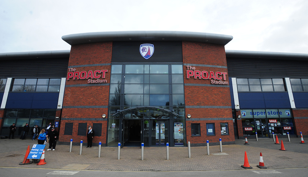 A general view of Proact Stadium, home of Chesterfield<br /> <br /> Photographer Chris Vaughan/CameraSport<br /> <br /> Football - The Football League Sky Bet League One - Chesterfield v Fleetwood Town - Saturday 28th February 2015 - Proact Stadium - Chesterfield<br /> <br /> © CameraSport - 43 Linden Ave. Countesthorpe. Leicester. England. LE8 5PG - Tel: +44 (0) 116 277 4147 - admin@camerasport.com - www.camerasport.com