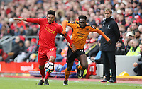 Football - 2016 / 2017 FA Cup - Fourth Round: Liverpool vs. Wolverhampton Wanderers<br /> <br /> Nouha Dicko of Wolverhampton Wanderers  and Joe Gomez of Liverpool during the match at Anfield.<br /> <br /> COLORSPORT/LYNNE CAMERON