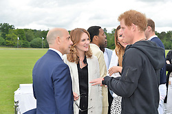 HRH PRINCE HARRY talks to STANLEY TUCCI and FELICITY BLUNT at the Audi Polo Challenge at Coworth Park, Blacknest Road, Ascot, Berkshire on 31st May 2015.