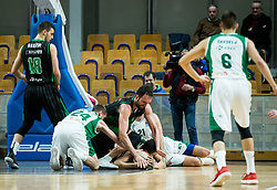 Mirza Begic of Petrol Olimpija fighting for a ball with Luka Lapornik and Jure Balazic of Krka during basketball match between KK Petrol Olimpija and KK Krka in Round #11 of ABA League 2018/19, on December 16, 2018 in Arena Tivoli, Ljubljana, Slovenia. Photo by Vid Ponikvar / Sportida