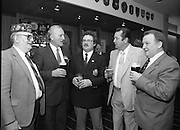 """Veterans Of Foreign Wars At Guinness..1986..28.05.1986.05.28.1986..28th May 1986..A group of """"Veterans of Foreign Wars"""" from Revere,Massachesetts,USA,who are on an eight day visit to Ireland were entertained at a reception at the Guinness Brewery,St James's Gate,Dublin. The trip was organised by the Organisation of National .Ex-Servicemen and Women...Picture shows Mr Bob Kane,Ex-US Navy,Revere,Mass.,Mr Paddy Kenna,Director,Guinness Ireland,Mr Pat Long,O.N.E,Mr George Magrath,EX-US Airforce,Revere,Mass.,and Mr Bill Kelly,Park Royal,London,enjoy a drink at the reception."""