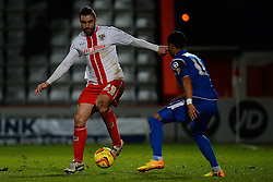 Stevenage's Peter Hartley and Crewe Alexandra's Byron Moore  - Photo mandatory by-line: Mitchell Gunn/JMP - Tel: Mobile: 07966 386802 22/02/2014 - SPORT - FOOTBALL - Broadhall Way - Stevenage - Stevenage v Crewe Alexandra - League One