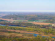 Aeiral view of the Wisconsin River and its valley, just west of Lone Rock, Richland County, Wisconsin.