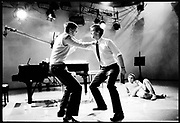 HUGH LAURIE; STEPHEN FRY, Cambridge Footlights performance for BBC TV. During the Edinburgh Festival. 1981. SUPPLIED FOR ONE-TIME USE ONLY> DO NOT ARCHIVE. © Copyright Photograph by Dafydd Jones 248 Clapham Rd.  London SW90PZ Tel 020 7820 0771 www.dafjones.com