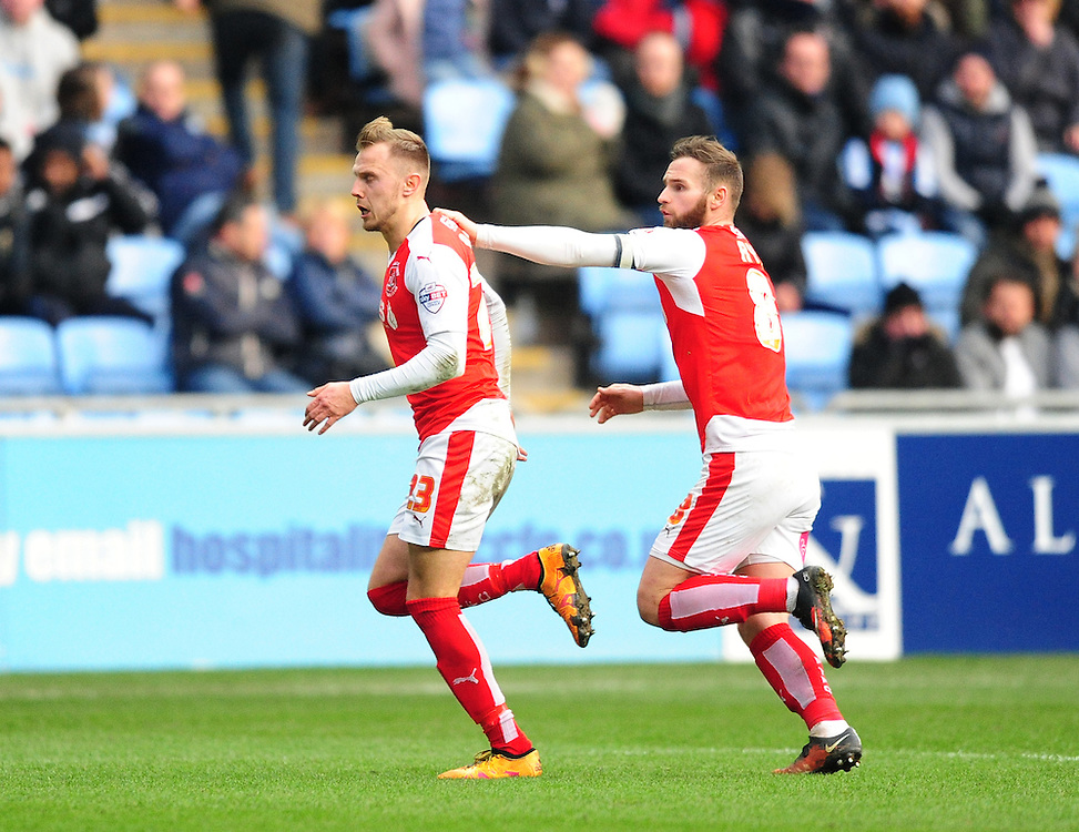 Fleetwood Town's David Ball, left, celebrates scoring his sides second goal with team-mate Jimmy Ryan<br /> <br /> Photographer Chris Vaughan/CameraSport<br /> <br /> Football - The Football League Sky Bet League One - Coventry City v Fleetwood Town - Saturday 27th February 2016 - Ricoh Stadium - Coventry   <br /> <br /> © CameraSport - 43 Linden Ave. Countesthorpe. Leicester. England. LE8 5PG - Tel: +44 (0) 116 277 4147 - admin@camerasport.com - www.camerasport.com