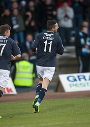 Dundee's Ryan Conroy cele scoring their penalty goal.<br /> Dundee 1 v 1 Falkirk, Scottish Championship game at Dundee's home ground Dens Park.