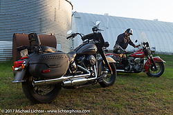 Hog Magazine feature on the 2018 Harley-Davidson Heritage Classic with it's Milwaukee-8 engine in the new Softail frame and a 1949 Harley-Davidson EL Panhead from Carl's Cycle. Photographed at Carl's Cycle in Aberdeen, SD. USA. Saturday October 7, 2017. Photography ©2017 Michael Lichter.