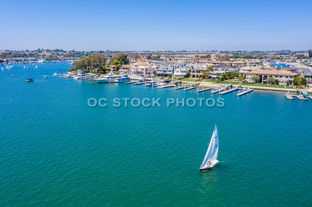 Sailing at Balboa Island North Channel